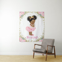 African American Princess Baby Shower Banner Tapestry