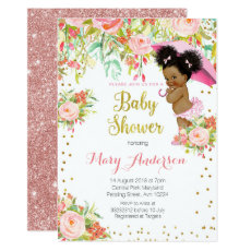 African American Princess Baby Shower Invitation Card
