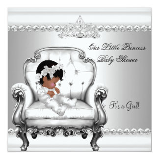 """African American Princess Baby Shower Girl Chair 2 5.25"""" Square Invitation Card"""