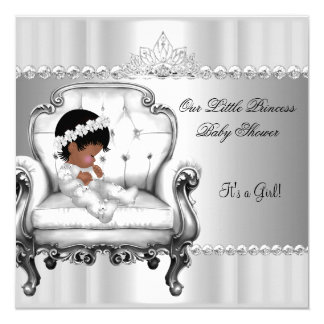 """African American Princess Baby Shower Girl Chair 5.25"""" Square Invitation Card"""