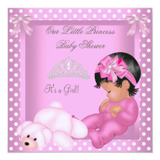 """African American Princess Baby Shower Girl Pink 5.25"""" Square Invitation Card"""