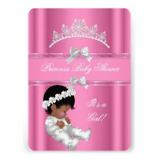 African American Princess Baby Shower Girl Pink Custom Invites