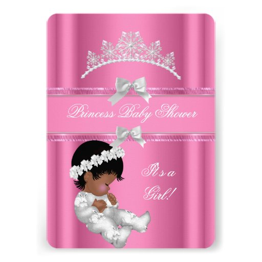African American Princess Baby Shower Girl Pink Custom Invites