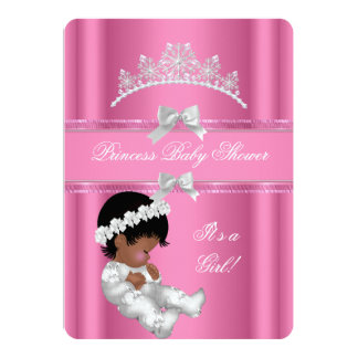 "African American Princess Baby Shower Girl Pink 5"" X 7"" Invitation Card"