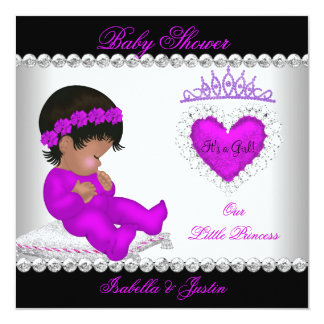 African American Princess Baby Shower Girl Purple Card
