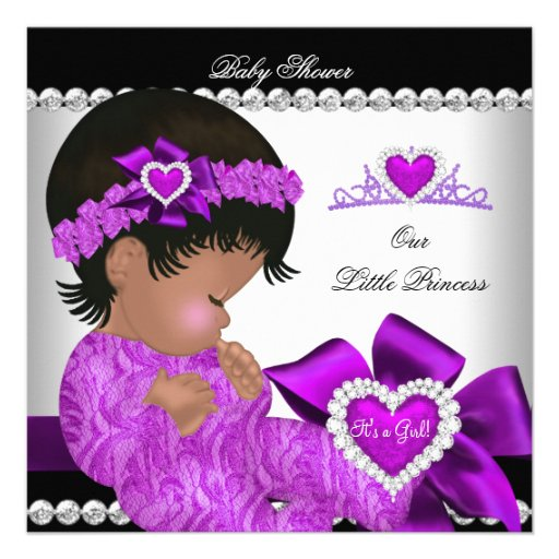 African American Princess Baby Shower Girl Purple Invites