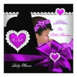 African American Princess Baby Shower Girl Purple Invitations