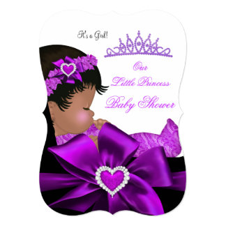 "African American Princess Baby Shower Girl Purple 5"" X 7"" Invitation Card"
