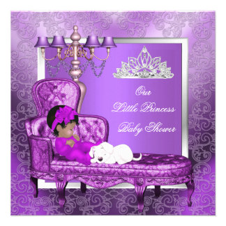 African American Princess Baby Shower Girl Purple Invitation
