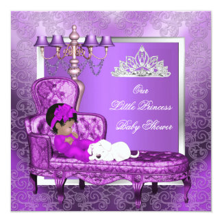 """African American Princess Baby Shower Girl Purple 5.25"""" Square Invitation Card"""