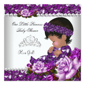 African American Princess Baby Shower Girl Rose 2 Card