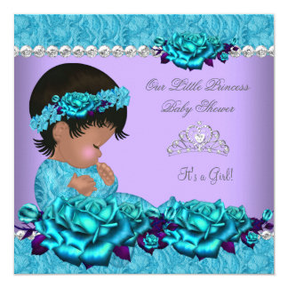 African American Princess Baby Shower Girl Rose 4a 5.25x5.25 Square Paper Invitation Card