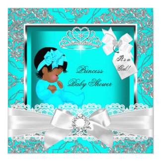 African American Princess Baby Shower Girl Teal Card