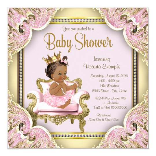 African American Princess Baby Shower Invitation Zazzlecom