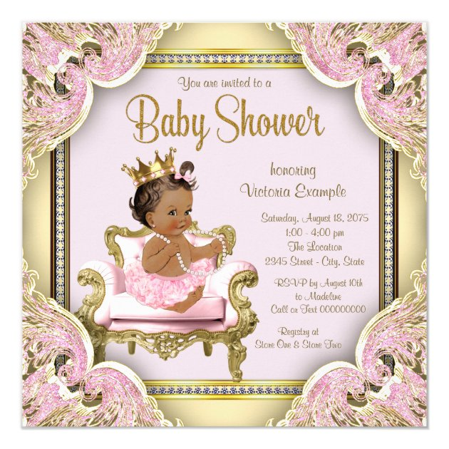 African American Princess Baby Shower Invitation | Zazzle.com