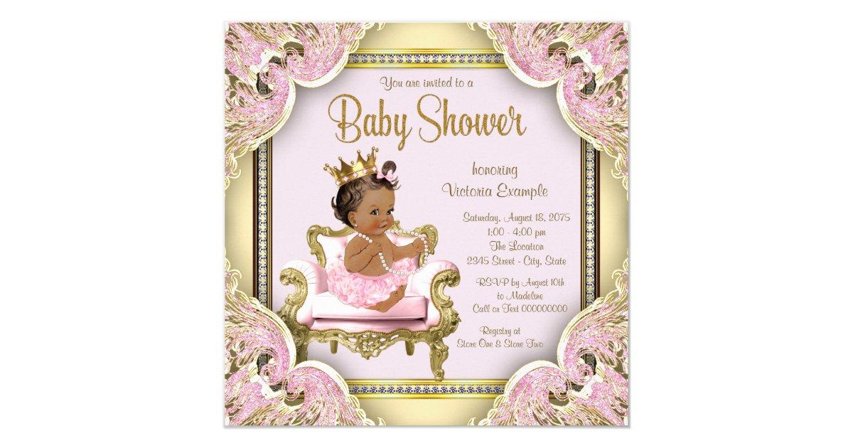 African American Princess Baby Shower Invitation | Zazzle.com