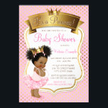 "African American Princess Baby Shower Invitations<br><div class=""desc"">African American princess ballerina baby shower invitation with adorable ethnic African American baby girl wearing a cute pink tutu and pearls with pretty pink and gold crown on a beautiful pink and gold background. These adorable pink and gold baby shower invitations are easily customized for your event by simply adding...</div>"