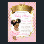 """African American Princess Baby Shower Invitations<br><div class=""""desc"""">African American princess ballerina baby shower invitation with adorable ethnic African American baby girl wearing a cute pink tutu and pearls with pretty pink and gold crown on a beautiful pink and gold background. These adorable pink and gold baby shower invitations are easily customized for your event by simply adding...</div>"""