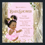 "African American Princess Baby Shower Invitations<br><div class=""desc"">Princess baby shower invitations with adorable African American princess baby girl wearing a cute pink tutu and string of pearls on a lovely gold sparkle and diamond background. You can easily customize this elegant pink and gold baby shower invitation by simply adding your event details in the font style and...</div>"