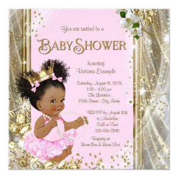 Toddler & Baby themed African American Princess Baby Shower Invitations