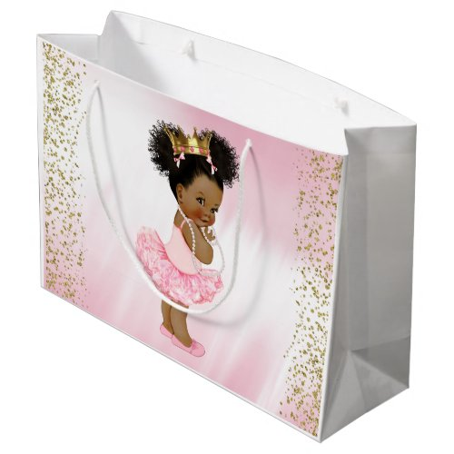 African American Princess Baby Shower Large Gift Bag