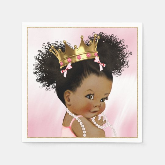 African American Princess Baby Shower Paper Napkin ...