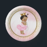 """African American Princess Baby Shower Paper Plate<br><div class=""""desc"""">Princess baby shower paper plates with adorable princess baby girl wearing a pretty pink tutu and string of pearls and gold crown on a beautiful pink and gold background. These cute princess baby shower paper plates are easily customized with text.</div>"""