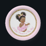 "African American Princess Baby Shower Paper Plates<br><div class=""desc"">Princess baby shower paper plates with adorable African American princess baby girl wearing a tutu and string of pearls on a pink and gold background. These cute ballerina princess baby shower paper plates can be customized with text in the font style and color of your choice. You can also remove...</div>"