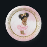 "African American Princess Baby Shower Paper Plates<br><div class=""desc"">Princess baby shower paper plates with adorable princess baby girl wearing a pretty pink tutu and string of pearls on a beautiful pink and gold background. These cute princess baby shower paper plates are easily customized with text. You can also move the baby as needed.</div>"