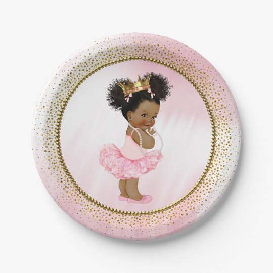 African American Princess Baby Shower Paper Plates ...