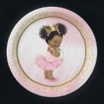 """African American Princess Baby Shower Paper Plates<br><div class=""""desc"""">Princess baby shower paper plates with adorable princess baby girl wearing a pretty pink tutu and string of pearls on a beautiful pink and gold background. These cute princess baby shower paper plates are easily customized with text. You can also move the baby as needed.</div>"""