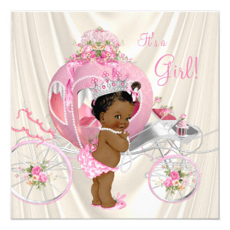 African American Princess Baby Shower Pearl Card