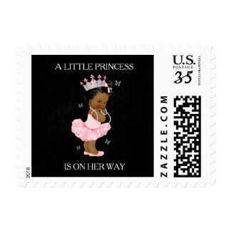 African American Princess Baby Shower Stamp