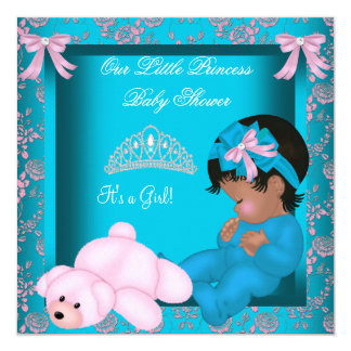 African American Princess Baby Shower Teal Pink Card