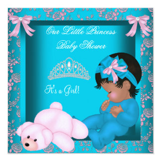 """African American Princess Baby Shower Teal Pink 5.25"""" Square Invitation Card"""