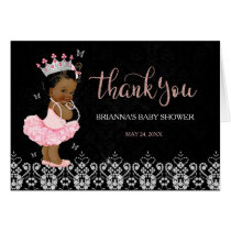 African American Princess Baby Shower Thank You Card