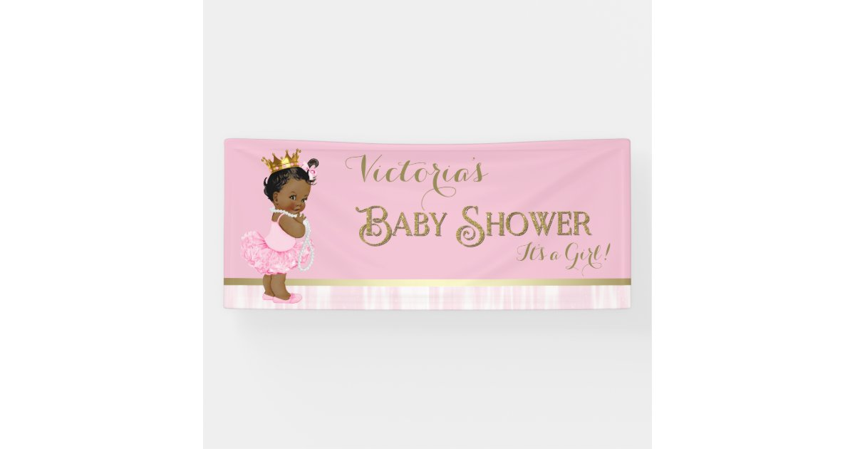 African American Princess Ballerina Baby Shower Banner