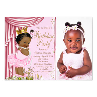 African American Princess Birthday Party Card