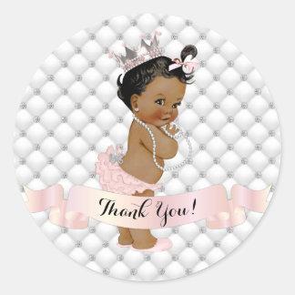 African American Princess Diamonds Blush Pink Classic Round Sticker