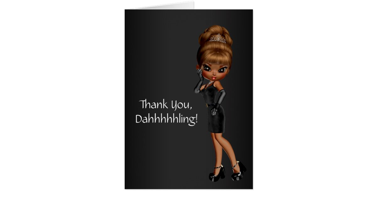 African American Princess Diva Thank You Cards Zazzle Com