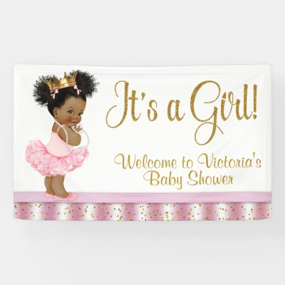 Pink White Pearls Girl Baby Shower Banner Zazzle Com