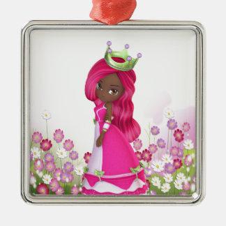 African American Princess Metal Ornament
