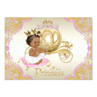 African American Princess Pink Gold Baby Shower Card