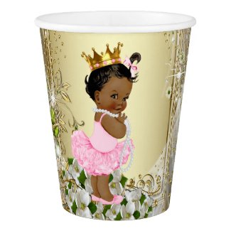 African American Princess Pink Gold Baby Shower Paper Cup