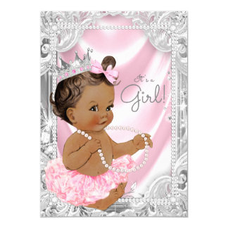 African American Princess Pink Gray Baby Shower Card