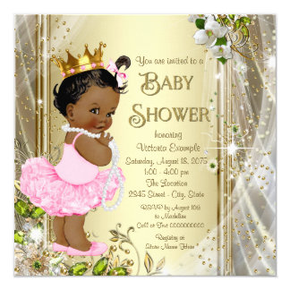 African American Princess Pink Tutu Baby Shower Card