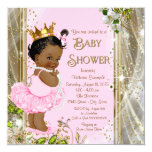 African American Princess Pink Tutu Baby Shower 5.25x5.25 Square Paper Invitation Card