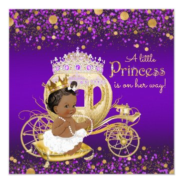 Toddler & Baby themed African American Princess Purple Gold Baby Shower Card