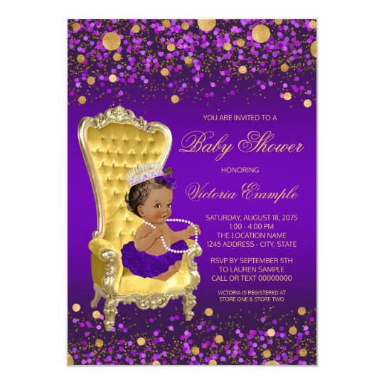 african american princess purple gold baby shower card | zazzle, Baby shower invitations