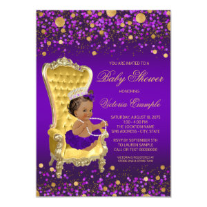 African American Purple Princess Baby Shower Invitations